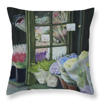 New York Flower Shop Throw Pillow by Rebecca Matthews