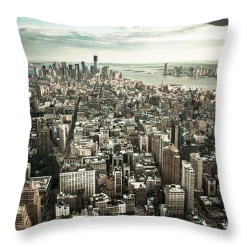 New York From Above - Vintage Throw Pillow by Hannes Cmarits