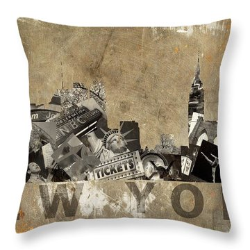 New York City Grunge Throw Pillow by Suzanne Powers