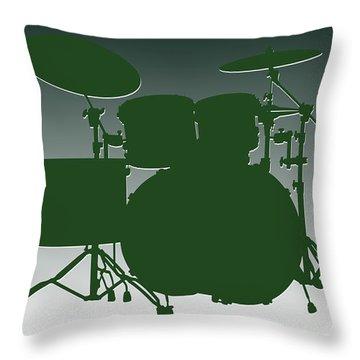 New York Jets Drum Set Throw Pillow by Joe Hamilton