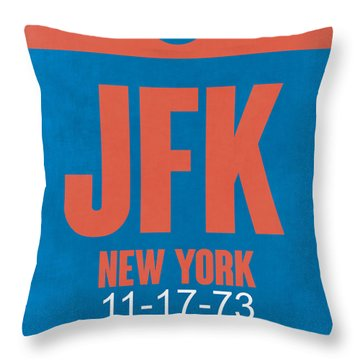 New York Luggage Tag Poster 1 Throw Pillow by Naxart Studio