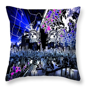 New York Map Abstract 4 Throw Pillow