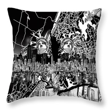 New York Map Black And White 2 Throw Pillow by Bekim Art
