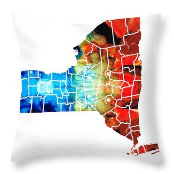 New York - Map By Sharon Cummings Throw Pillow