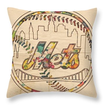 New York Mets Poster Vintage Throw Pillow