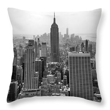 New York Moody Skyline  Throw Pillow