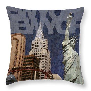 New York New York Las Vegas Throw Pillow by Art Whitton
