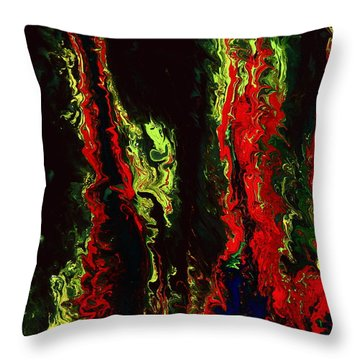 New York New York - Red Green Fluid Abstract Art By Kredart Throw Pillow