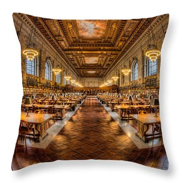New York Public Library Main Reading Room Vii Throw Pillow by Clarence Holmes