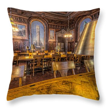 New York Public Library Periodicals Room IIi Throw Pillow by Clarence Holmes