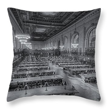 New York Public Library Rose Room Bw Throw Pillow by Susan Candelario