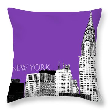 New York Skyline Chrysler Building - Purple Throw Pillow by DB Artist