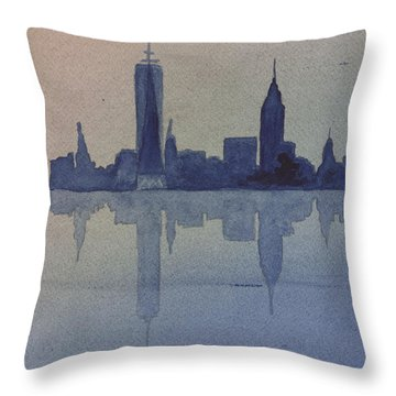 New York Skyline  Throw Pillow by Donna Walsh