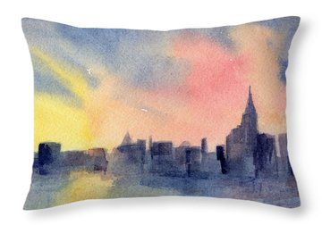 New York Skyline Empire State Building Pink And Yellow Watercolor Painting Of Nyc Throw Pillow by Beverly Brown Prints