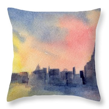New York Skyline Empire State Building Pink And Yellow Watercolor Painting Of Nyc Throw Pillow by Beverly Brown