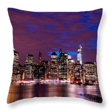 New York Skyline Magic Hour-- From Brooklyn Heights Promenade Throw Pillow