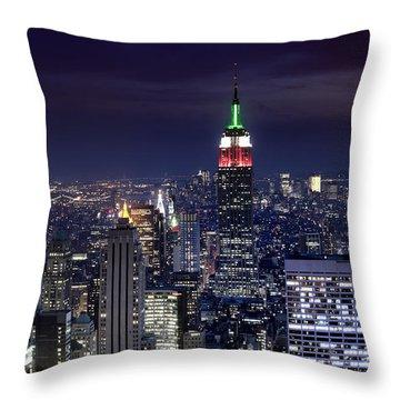 New York Skyline Night Color Throw Pillow
