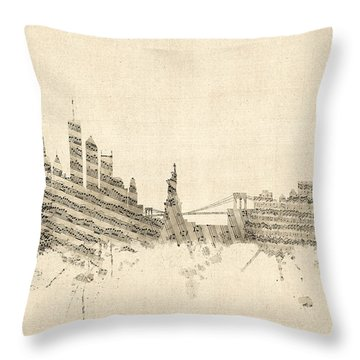 New York Skyline Sheet Music Cityscape Throw Pillow by Michael Tompsett