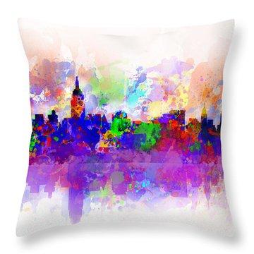 New York Skyline Splats 3 Throw Pillow by Bekim Art
