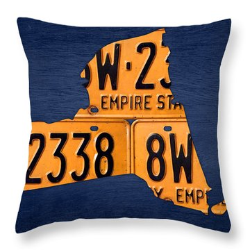 New York State License Plate Map Throw Pillow by Design Turnpike