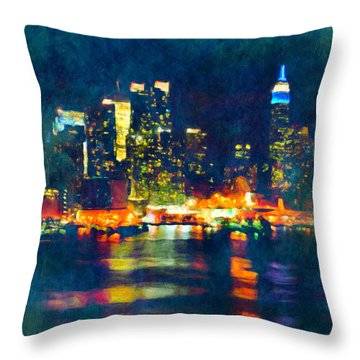 New York State Of Mind Abstract Realism Throw Pillow