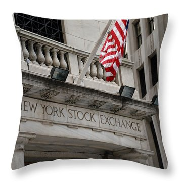 New York Stock Exchange Building Throw Pillow by Amy Cicconi