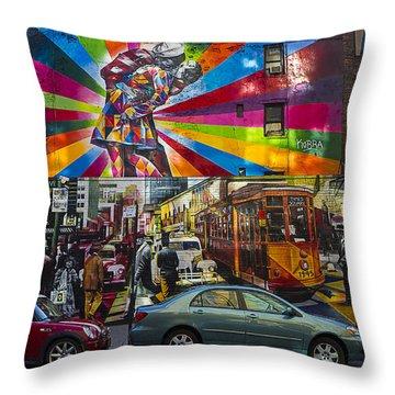 New York Street Scene Throw Pillow by Garry Gay