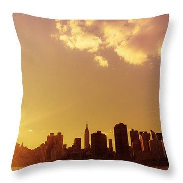 New York Sunset Skyline Throw Pillow by Vivienne Gucwa