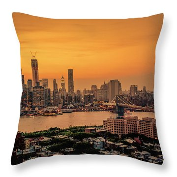 New York Sunset - Skylines Of Manhattan And Brooklyn Throw Pillow by Vivienne Gucwa
