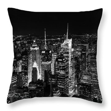 New York Times Square Bw Throw Pillow