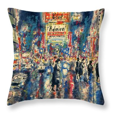 New York Times Square 79 - Watercolor Art Painting Throw Pillow