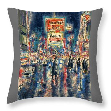 New York Times Square - Watercolor Throw Pillow