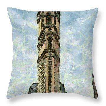 Throw Pillow featuring the painting New York Vintage Landmarks by Georgi Dimitrov