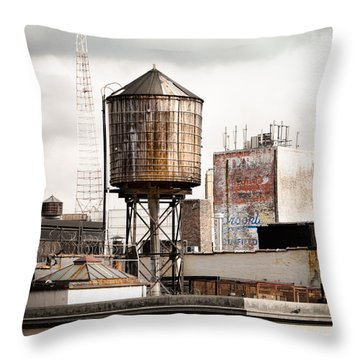 New York Water Tower 16 Throw Pillow by Gary Heller