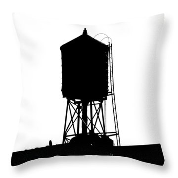 Throw Pillow featuring the photograph New York Water Tower 17 - Silhouette - Urban Icon by Gary Heller