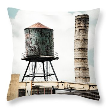 Water Tower And Smokestack In Brooklyn New York - New York Water Tower 12 Throw Pillow