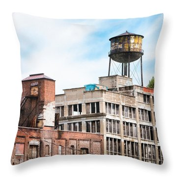 Throw Pillow featuring the photograph New York Water Towers 18 - Greenpoint Water Tower by Gary Heller