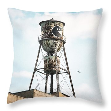 Throw Pillow featuring the photograph New York Water Towers 9 - Bed Stuy Brooklyn by Gary Heller