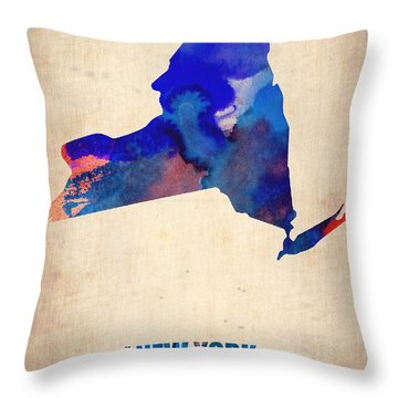 New York Watercolor Map Throw Pillow by Naxart Studio