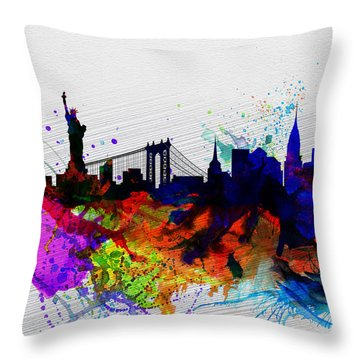 New York  Watercolor Skyline 1 Throw Pillow