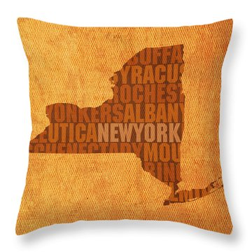 New York Word Art State Map On Canvas Throw Pillow