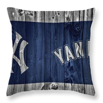New York Yankees Barn Door Throw Pillow by Dan Sproul