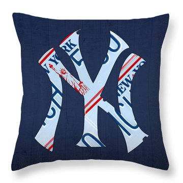 New York Yankees Baseball Team Vintage Logo Recycled Ny License Plate Art Throw Pillow by Design Turnpike