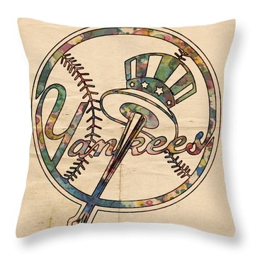 New York Yankees Poster Vintage Throw Pillow by Florian Rodarte