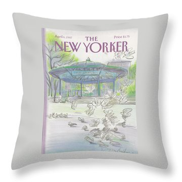 New Yorker April 6th, 1987 Throw Pillow