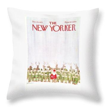 New Yorker December 24th, 1973 Throw Pillow