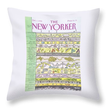 New Yorker October 1st, 1990 Throw Pillow