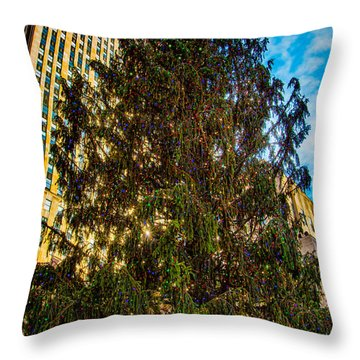 Throw Pillow featuring the photograph New York's Holiday Tree by Chris Lord