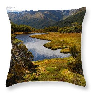 New Zealand Alpine Landscape Throw Pillow