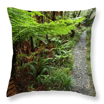 New Zealand Forest Throw Pillow by Les Cunliffe